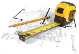 This graphic shows an image of a measuring tape and a pencil over a construction drawing of a house.