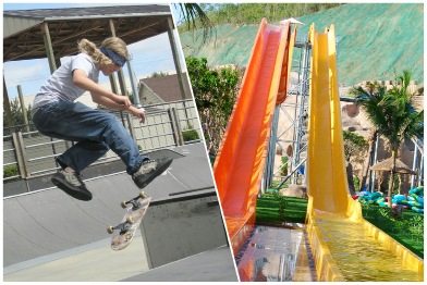 This collage shows a photograph of a skateboarder in a skate park and a photograph of two colourful waterslides.