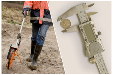 This collage shows a man pushing a trundle wheel and a vernier caliper with a coin in its jaws.