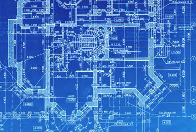 This shows an image of detailed blueprints of a building.