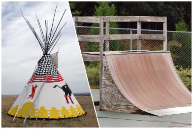This collage a shows a photograph of a traditional teepee and a photograph of a quarter-pipe skateboard ramp.