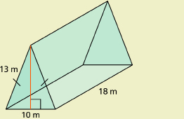 This shows an illustration of a triangular prism with the height of the triangular base outlined in red.
