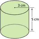 This shows an illustration of a cylinder with radius 3 cm and height 5 cm.