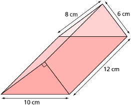 This shows an illustration of a triangular prism with labelled dimensions.