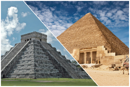 This shows a photo collage of an Egyptian pyramid and a Mayan pyramid.