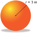 This shows an illustration of a sphere with a radius equal to 3 m.