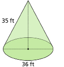 This shows an illustration of a cone with diameter 36 ft and slant height 35 ft.