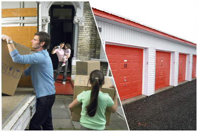 This collage shows a photo of a family moving boxes into their new home and a photo of a storage facility.