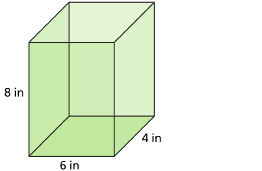 This shows an illustration of a rectangular prism with dimensions of 4 in, 6 in, and 8 in.
