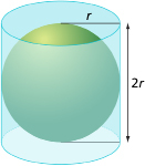 This graphic shows an illustration of a ball inside a cylindrical can.