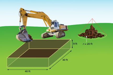 This illustration shows an excavator digging a hole and a mound of soil.
