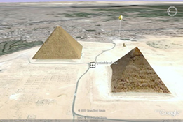 This image shows Egyptian pyramids as viewed on the Google Earth application.