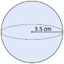 This graphic shows an illustration of a sphere with a radius of 3.5 cm.