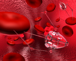 This photo shows nanobots attached to red blood cells.