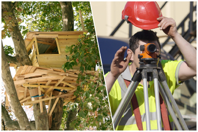 This photo collage shows a tree house and a surveyor using a surveyors tripod.