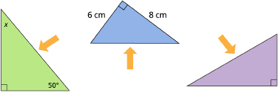 This graphic shows an illustration of three right triangles. Each right triangle has an arrow pointing to its hypotenuse.