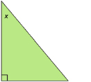 This graphic shows an illustration of a right triangle with acute angle x.