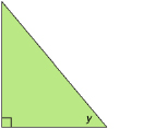 This shows an illustration of a right triangle with acute angle y.