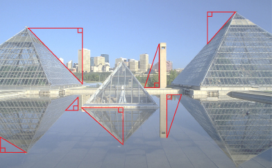 This shows a photo of the Muttart Gardens in Edmonton with right triangles drawn in the photo to show some possible lengths that could be calculated.