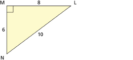 This illustration shows a right triangle with side lengths of 6, 8, and 10.