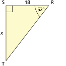 This illustration shows a right triangle with reference angle 52, adjacent side 18, and opposite side x.