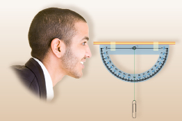 This illustration shows a graphic of a man looking through a clinometer that is parallel to the horizontal.
