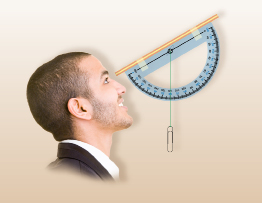 This illustration shows a graphic of a man looking through a clinometer that is 30 above the horizontal. The string on the clinometer is passing through 120.