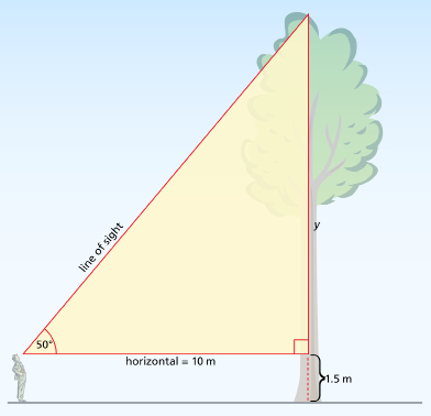 This illustration shows a diagram of a man looking at a tree. A right triangle is superimposed on the diagram with a horizontal length of 10 m and an angle of elevation from the horizontal to the top of the tree equal to 50.