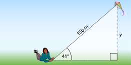 This graphic shows a kite on a 150-m long string at an angle of elevation of 41.
