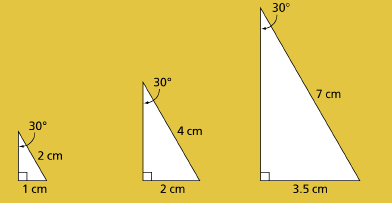 This graphic shows three right triangles of different sizes, each with a 30 angle. The hypotenuse and base of each triangle, in order from left to right, are 2 cm and 1 cm; 4 cm and 2 cm; 7 cm and 3.5 cm.
