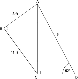 This graphic shows an illustration of two right triangles sharing a common length of AC.